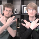"""Still of John and Hank Green doing the """"nerdfighter sign"""" in one of their videos. -Taken from tumblr"""